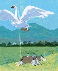 #swan #grass #field #people #legend #god #japan #yamatotakeru #illustrator #illustration #love #bird #graveyard #grave #tatsurokiuchi #イラスト #イラストレーション