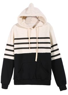 Shop Black White Hooded Striped Loose Sweatshirt online. Sheinside offers Black White Hooded Striped Loose Sweatshirt & more to fit your fashionable needs. Free Shipping Worldwide!
