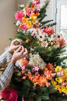 Add pops of color to the Christmas arrangement with bright, fun, florals!