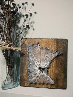 Minnesota State String Art State Nail Art by witheyesunlocked