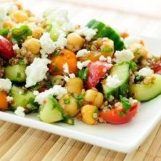 This caprese quinoa salad jazzes things up and makes salad exciting again. Healthy salads are a great option for lunch, dinner, or even a snack, and this is one of the best.
