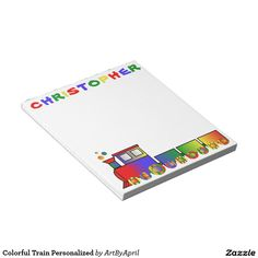 Colorful Train Personalized Scratch Pad