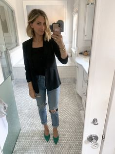 Our entire office bought one (or several) on the spot. Fall Outfits, Summer Outfits, Fashion Outfits, Work Outfits, Women's Fashion, Emily Schuman, Putting Outfits Together, Jeans With Heels, Classic Wardrobe
