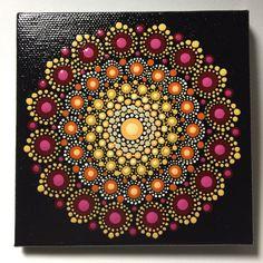 Hand Painted Mandala on Canvas, Dot Art, Calming, Healing, Meditation, #424 by MafaStones on Etsy