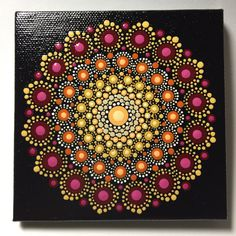 Hand Painted Mandala on Canvas, Dot Art, Calming, Healing, Meditation, #424 by MafaStones on Etsy