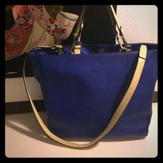 Zara bag Beautiful blue contrast tote ...love it but need a mega big bag for work ... Some wear on handles ...they detach ... Make an offer Zara Bags