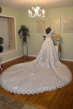 1980s Satin Ballgown Wedding Dress Heavily by VintageWedding1