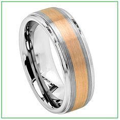 MEN AND WOMEN TUNGSTEN CARBIDE WEDDING BAND RING 8 MM TWO TONE 18K ROSE GOLD PLATED STEPPED DOWN EDGES SATIN FINISH FREE CUSTOMIZE ENGRAVING $39.95 SAVE $ 60