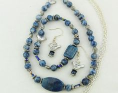 Lapis Lazuli and Silver Bead Jewellery Set, Necklace, Bracelet, Earrings, Accessories, Semi Precious, Gift, Birthday, Christmas, Anniversary by oswestryjewels. Explore more products on http://oswestryjewels.etsy.com