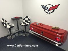 From the makers of the original world famous 1965 Ford Mustang Pool Table comes this beautiful wall console table! -Your awesome new table is entirely made in the USA and comes complete with working l