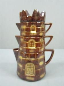 Stackable Teapot And Cup | ... Royal-Sealy-Japan-Teapot-Castle-Set-Stacking-Teapot-Castle-Brown-Color