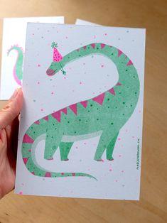 Nadia de Donno / Risography A5: 4 CHF dino - illustration - green - pink Chf, Graphic Design, Illustration, Green, Handmade, Hands, Illustrations
