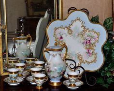 Limoges Breathtaking Chocolate Set: Chocolate Pot, Six Cups, Five Saucers and Huge Matching Serving Tray