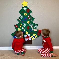 Kids Felt Christmas Tree for toddlers - 34 decorative objects, kids felt Christmas tree Diy Felt Christmas Tree, Toddler Christmas, Christmas Crafts For Kids, Little Christmas, Christmas Ornaments, White Christmas, Kid Crafts, New Kids Toys, Felt Tree