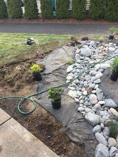 29 rock garden and backyard ideas landscaping for make you happy 13 - garden landscaping Dry Riverbed Landscaping, River Rock Landscaping, Landscaping With Rocks, Front Yard Landscaping, Landscaping Ideas, Gardening With Rocks, Gardening Tips, Dry Creek Bed, Garden Yard Ideas
