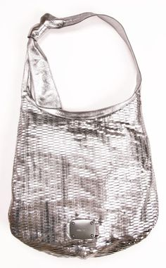 Jimmy Choo metallic silver slashed hobo bag