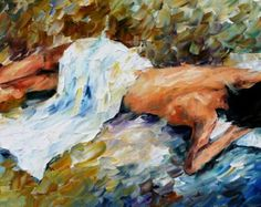 Woman Figure Artwork Guitar Oil Painting On Canvas By Leonid