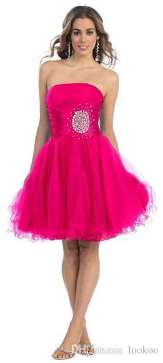 Fuchsia A Line Tulle Custom Made Cheap Beaded Pleated Cocktail Dresses  Strapless 2016 Backless Custom Made Hot Sale Prom Party Gowns Plus Size  White ... 16548e5f5