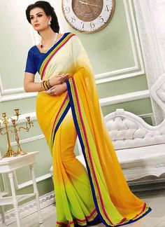 EXOTIC SELLERS!!  Fashionistic Faux Georgette Off White And Yellow Patch Border Work Sar  Product Order linkhttp://www.usarees.com/sarees/fashionistic-faux-georgette-off-white-and-yellow-patch-border-work-saree-3217  ITEM CODE: 3210  Color :Off White Yellow Fabric :Faux Georgette Work :Patch Border Embroidered Occasion :Festival Party  Call or Whatsapp : +919377152141 SHOP NOW!!