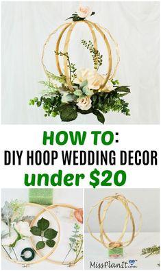 DIY Lighted Hanging Embroidery Hoop Orb Wedding Decor - New Site Diy Centerpieces, Diy Wedding Decorations, Flower Decorations, Wedding Bouquets, Wedding Flowers, Floral Hoops, Deco Floral, Diy Décoration, Simple Weddings