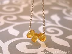 Tiny Citrine Choker, Minimal Gemstone Necklace from INOMINOS by DaWanda.com