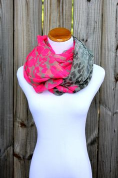 Neon Pink Animal Print Scarf - Neon Pink Animal Print - Infinity Scarf - 100% Viscose - Very light and soft