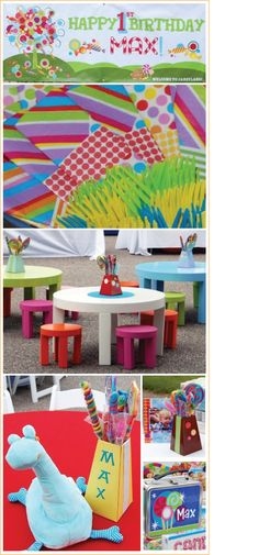 Candy land party theme centerpieces