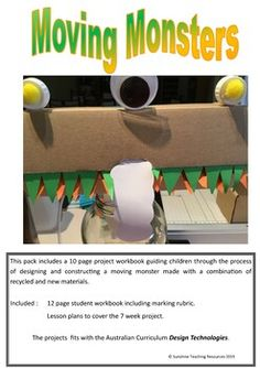 This is a seven week project involving students investigating, designing and constructing a monster made of recycled and new materials using either a balloon or syringe air system for movement. The pack includes a twelve page student workbook, marking rubric and seven weeks of lesson plans.It is a D... Stem Projects, Rubrics, Teaching Resources, Lesson Plans, Curriculum, Balloons, Recycling, Students, Animation