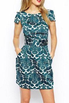 Aqua Vintage Graphic Crepe Dress | USTrendy #ustrendy ustrendy.com