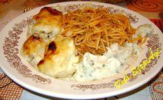 Selymes sajtszószban sült karfiol, húsos spagettivel