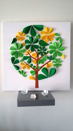 guest book - tree tree prints on a cotton 50 x 50 cm. Pop Up Art, Diy For Kids, Crafts For Kids, Arts And Crafts, Diy Paper, Paper Crafts, Diy Crafts, Guest Book Tree, Quilled Creations