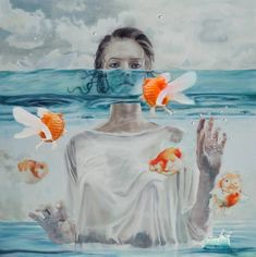"""Saatchi Art Artist Zhongwen Yu; Painting, """"(sold)-which one is believable,the  saw,read,or  touched?"""" #art"""