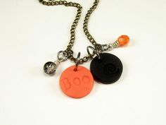 Halloween Personalized Black and Orange Necklace by BobblesByCarol, $20.00
