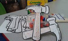 Sunday School Craft - Jesus Carpenter Hammer.....carpentry, father's business, Luke 2:49, temple, left behind, Mary, Joseph, God, Father
