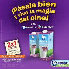 ¿Eres fanático del cine? Con alpura Deslactosada podrás invitar a un amigo a disfrutar de la película que quieras en las mejores salas de cine en Cinemex. Sólo recorta el cupón que viene en el envase y disfruta del séptimo arte.   **Consulta la cartelera en cinemex.com. Válido del 13 de octubre al 13 de diciembre de 2014.  #AlpuraDeslactosada #AlpuraMeGusta #Alpura