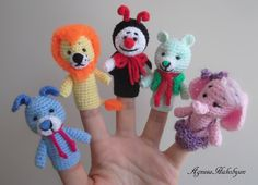 Crochet finger puppets: puppy,lion,ladybug,bear,elephant