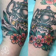 Lovely flowers added to an existing tea kettle tattoo by Rebecca G.  #12ozstudios #team12oz #tattoo #tattoos #tattooart #tattooartist #flowers #floraltattoo #flowertattoo #fillertattoo #tattoosforwomen