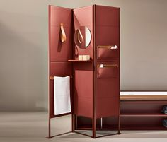 SHADE is a folding screen offering an upscale solution to maximize the bathroom space. It is possible to accessorize it with shelves, leather loop towel holders, mirrors, and object holder pockets. Here displayed in the exquisite medium grain red leather. Partition Screen, Room Divider Screen, Room Screen, Cool Ideas, My New Room, Interior And Exterior, Furniture Design, Office Furniture, Shelves