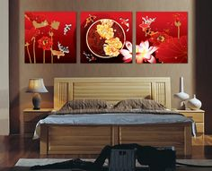 Free shipping 3 piece canvas wall art  Red flower painting and art Koi fish wall art Wall decorations bed room Headboard  $28.80 - 36.80