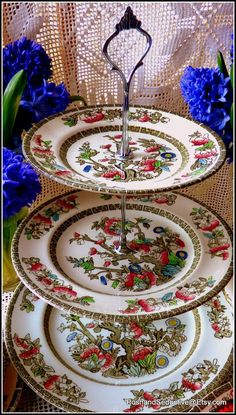 Johnson Brothers three tier handmade cake stand using vintage circa 1940 famous Indian Tree pattern plates created by Coalport China in 1801