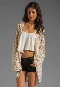 Shop for Chaser Clothing Co. Chaser Spanish Lace Kimono Jacket in Muslin at REVOLVE. Free day shipping and returns, 30 day price match guarantee. Kimono Fashion, Boho Fashion, Fashion Outfits, Womens Fashion, Lace Kimono, Kimono Jacket, Lace Shrug, Kimono Style, Bohemian Style