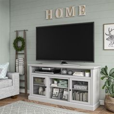 Darby Home Co Alpharetta TV Stand for TVs up to with Fireplace Included Colo. - Darby Home Co Alpharetta TV Stand for TVs up to with Fireplace Included Color: Dove Gray, Fir - Home Living Room, Farm House Living Room, Room Design, Tv Stand Decor Living Room, Home Decor, Room Decor, Living Room Entertainment, Living Decor, Living Room Tv