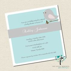 Lovely Bird Baby Shower Teal Invitation by TheLovelyMemories, $10.00