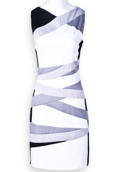 White Black Silver Sleeveless Striped Bodycon Dress $67.21