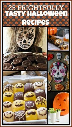 My favorite thing about Halloween is cooking up all the yummy scary food! Here are 25 Frightfully Tasty Halloween Recipes you are going to love. They are perfect for a Spooky Halloween Party or for some creepy family fun! Happy Halloween!