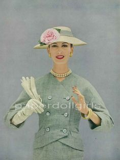 Vogue 1956 Magazine Advertisement CHRISTIAN DIOR Straw Hat Lesur Wool Tweed Suit Van Cleef & Arpels Jewelry.