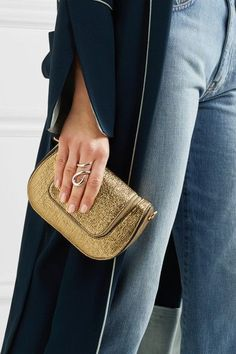 Anya Hindmarch - Vere Mini Metallic Textured-leather Shoulder Bag - Gold - one size