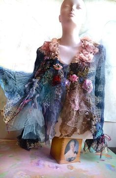 RESERVED For MARGIE Art To Wear  Openwork Sweater/Jacket Dusty  BLUe With ROSEs   Romantic Feminine  Marie Antoinette Boho Hippie Tattered