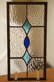 シンプルなデザイン。。ステンドグラス 四つの長方形 4種のクリア2 20cm×40cm