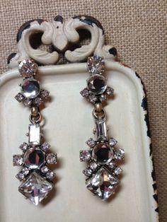 Art Deco Inspired Vintage Crystal Statement Chandelier Earrings Drop Bridal New | eBay
